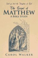 Cover-Bild zu Walker, Carol: The Gospel of Matthew: A Bible Study