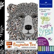 Cover-Bild zu Faszination Tiere Postkarten Set mit 4 original Faber-Castell Pitt Artist Pens Metallic