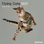 Cover-Bild zu Christe, Julia: Flying Cats 2021 - Wand-Kalender - Broschüren-Kalender - 30x30 - 30x60 geöffnet - Katzen-Kalender