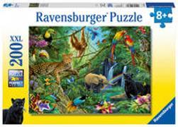 Cover-Bild zu Christoph, Silvia (Illustr.): Ravensburger Tiere im Dschungel 200 Teile XXL Kinderpuzzle - Puzzle für Kinder ab 8 Jahren