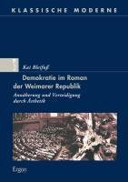 Cover-Bild zu Demokratie im Roman der Weimarer Republik von Bleifuß, Kai