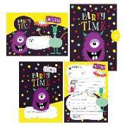 Cover-Bild zu Wirth, Lisa: 12 Monster Einladungskarten zum Geburtstag oder Party für Jungen und Mädchen inkl. Umschläge  
