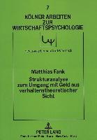 Cover-Bild zu Strukturanalyse zum Umgang mit Geld aus verhaltenstheoretischer Sicht von Fank, Matthias