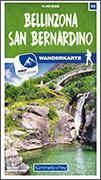 Cover-Bild zu Hallwag Kümmerly+Frey AG (Hrsg.): Bellinzona - San Bernardino 45 Wanderkarte 1:40 000 matt laminiert. 1:40'000