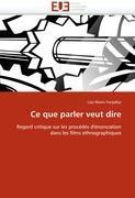 Cover-Bild zu Ce que parler veut dire von Fonjallaz-L