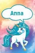 Cover-Bild zu Anna: Personalized Unicorn Journal, Notebook Featuring 120 Lined Pages 6x9 von Cole, Rob