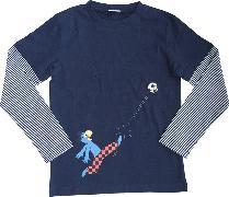 Cover-Bild zu Globi T-Shirt langarm dunkelblau Fussballer 134/140