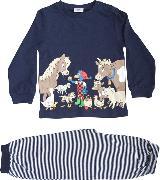 Cover-Bild zu Glöbeli Pyjama langarm dunkelblau Bauernhoftiere 86/92