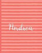 Cover-Bild zu Press, New Nomads: Andrea - Wide-Ruled Composition Book - Living Coral Collection: Pretty Pink Stripe Theme Makes This Wide-Ruled Blank Notebook Perfect for the Office o
