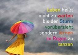 Cover-Bild zu Weisheits-Postkarte 19: Leben heißt nicht zu warten bis der Sturm vorüberzieht, sondern lernen im Regen zu tanzen von Zintenz