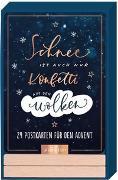 Cover-Bild zu Wieners, Sabina (Illustr.): Adventskalender Schnee ist auch nur Konfetti aus den Wolken - 24 Sprüche-Postkarten in schönem Handlettering-Design mit Holzständer