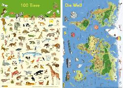 Cover-Bild zu Ahlgrimm, Achim (Illustr.): Mein Lernposter: 2er-Set 100 Tiere / Die Welt