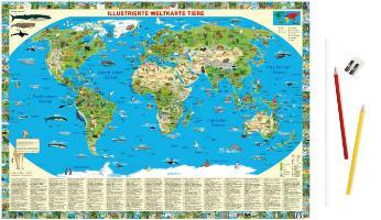 Cover-Bild zu Illustrierte Weltkarte Tiere von Schönhoff, Doris