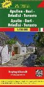 Cover-Bild zu Apulien - Bari - Brindisi - Taranto, Top 10 Tips, Autokarte 1:150.000. 1:150'000