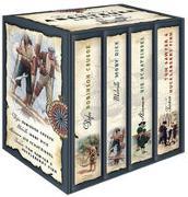 Cover-Bild zu Die großen Klassiker der Abenteuerliteratur - Robinson Crusoe - Moby Dick - Die Schatzinsel - Tom Sawyer & Huckleberry Finn (4 Bände im Schuber) von Defoe, Daniel