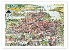 Cover-Bild zu Röbel/ Müritz - Vogelschau von Werner Schinko von Schinko, Werner (Illustr.)