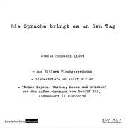 Cover-Bild zu Die Sprache bringt es an den Tag von Hitler, Adolf