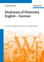 Cover-Bild zu Chemisches Wörterbuch Englisch-Deutsch /Dictionary of Chemistry English-German