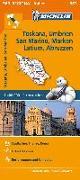 Cover-Bild zu Michelin Toskana, Umbrien, San Marino, Marken, Latium, Abruzzen. Straßen- und Tourismuskarte 1:400.000. 1:400'000