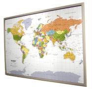 Politische Weltkarte auf Kork-Pinnwand, deutsch Format: ca 90 x 60cm