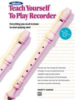 Cover-Bild zu Manus, Morton: Alfred's Teach Yourself to Play Recorder: Everything You Need to Know to Start Playing Now!