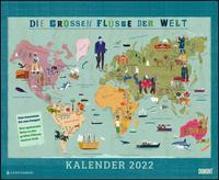 Cover-Bild zu Haake, Martin (Illustr.): Die großen Flüsse der Welt 2022 - Landkarten-Kalender für Kinder und Erwachsene - Wandkalender 52 x 42,5 cm - Spiralbindung