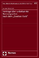 """Cover-Bild zu Schuchardt, Anneke: Verträge über unbekannte Nutzungsarten nach dem """"Zweiten Korb"""""""