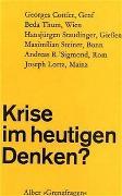 Cover-Bild zu Luyten, Norbert A (Hrsg.): Krise im heutigen Denken?