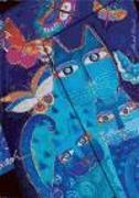 Cover-Bild zu Katzen in Blau mit Schmetterlingen Midi liniert