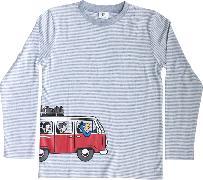 Cover-Bild zu Globi T-Shirt langarm hellgrau/weiss gestreift 122/128 VW Bus