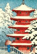 Cover-Bild zu Hasui Red Temple Boxed Holiday Notecards von Galison (Geschaffen)