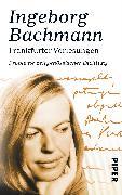 Cover-Bild zu Bachmann, Ingeborg: Frankfurter Vorlesungen