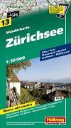 Cover-Bild zu Hallwag Kümmerly+Frey AG (Hrsg.): Zürichsee Wanderkarte Nr. 13, 1:50 000. 1:50'000